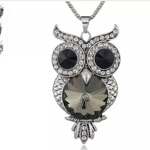 Diamante Owl Necklace